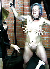 Hot mature domina in BDSM action with old lady